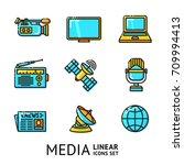 set of bright linear media... | Shutterstock .eps vector #709994413