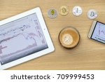 business table top with coffee  ... | Shutterstock . vector #709999453