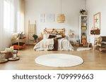 round white rug on the floor in ... | Shutterstock . vector #709999663
