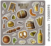 set of beer fest cartoon... | Shutterstock .eps vector #710000593