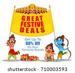 lord rama in happy dussehra... | Shutterstock .eps vector #710003593