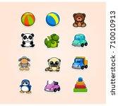 kids toys cartoon vector icons...   Shutterstock .eps vector #710010913