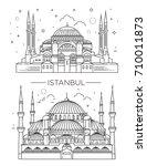 historic landmarks  famous...   Shutterstock .eps vector #710011873