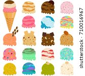 Stock vector cute vector illustration set of ice cream scoop many colorful flavors with toppings in wafer cone 710016967