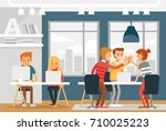 co working space with... | Shutterstock .eps vector #710025223
