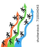 businessman running on up arrows | Shutterstock .eps vector #710034043