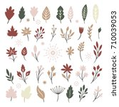 set of leaves and plants ...   Shutterstock .eps vector #710039053