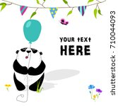 cute and funny panda keeps... | Shutterstock .eps vector #710044093
