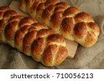 homemade freshly baked challah...   Shutterstock . vector #710056213