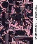 digital abstract pink lines 3d... | Shutterstock . vector #710060863