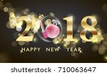 2018 happy new year background. ... | Shutterstock .eps vector #710063647