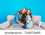 amazing mother and daughter... | Shutterstock . vector #710072683