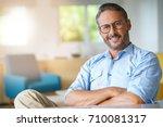 portrait of handsome 45 year... | Shutterstock . vector #710081317