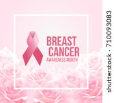 pink ribbon sign and breast... | Shutterstock .eps vector #710093083