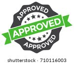 approved stamp vector. round...   Shutterstock .eps vector #710116003