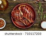 grilled pork rib chop steak in...   Shutterstock . vector #710117203