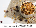 cereals in a cup on white...   Shutterstock . vector #710126167
