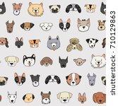 dog face funny cartoon doodle... | Shutterstock .eps vector #710129863