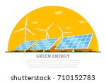 picture of wind turbines and... | Shutterstock .eps vector #710152783