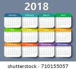 calendar 2018 year vector... | Shutterstock .eps vector #710155057