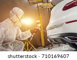 staff wear chemical protective...   Shutterstock . vector #710169607