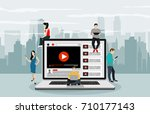 vlog concept. young people with ... | Shutterstock .eps vector #710177143