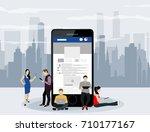 social network web site surfing ... | Shutterstock .eps vector #710177167