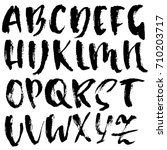 hand drawn dry brush font.... | Shutterstock .eps vector #710203717