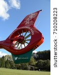"Small photo of Rhondda Valley, Wales - September 2017: The tail rotor of a Wales Air Ambulance helicopter showing the ""children's air ambulance"" logo"