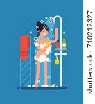 woman taking shower. cool... | Shutterstock .eps vector #710212327