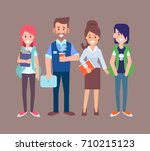 students with teachers vector... | Shutterstock .eps vector #710215123