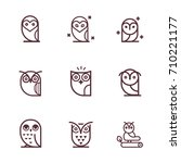 owl outline icons collection....   Shutterstock .eps vector #710221177