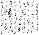 music notes seamless | Shutterstock .eps vector #71023123