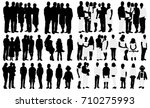 silhouette big family with baby ... | Shutterstock .eps vector #710275993