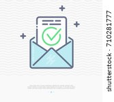 envelope with approved document ... | Shutterstock .eps vector #710281777