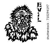 frenzy evil demon head. vector...   Shutterstock .eps vector #710294197