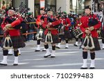 great highland bagpipe players... | Shutterstock . vector #710299483