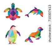 low poly sea animal logo icon... | Shutterstock .eps vector #710307613