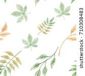 autumn seamless green pattern... | Shutterstock . vector #710308483