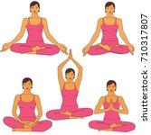 set of vector woman practicing... | Shutterstock .eps vector #710317807
