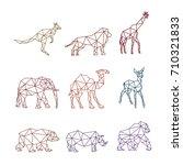 ZOO ANIMAL LOW POLY LOGO ICON SYMBOL SET. TRIANGLE GEOMETRIC KANGAROO, LION, GIRAFFE, CAMEL, DEER, BEAR,RHINO AND GORILLA POLYGON WILDLIFE | Shutterstock vector #710321833