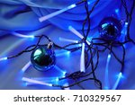 blue christmas background. blue ... | Shutterstock . vector #710329567
