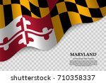 waving flag of Maryland is a state of USA on transparent background. Template for banner or poster. vector illustration