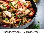 chicken stir fry with  ... | Shutterstock . vector #710360953
