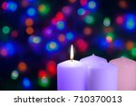 christmas candles and lights.... | Shutterstock . vector #710370013