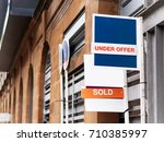 estate agency sold sign for a... | Shutterstock . vector #710385997
