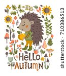 lovely autumn card with a... | Shutterstock .eps vector #710386513
