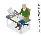 isometric old people or senior... | Shutterstock .eps vector #710397133