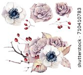 watercolor flowers set. perfect ... | Shutterstock . vector #710410783