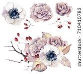 watercolor flowers set. perfect ... | Shutterstock . vector #710410783